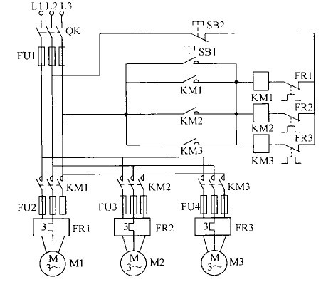 m1是斗式双联提升机的驱动电动机,m2是订谷机的电动机,m3是 碾米机的